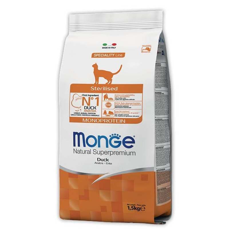 MONGE Cat Monoprotein Sterilized для стерилиз. кошек 1,5 кг. утка 70011952